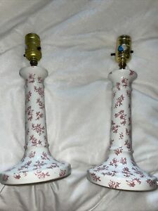 """2 Vintage Laura Ashley Floral Bedside Table Lamp Set Pink White Shabby Chic 12"""""""