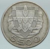 1933 PORTUGAL with PORTUGUESE SAILING SHIP Vintage Silver 5 Escudos Coin i86782