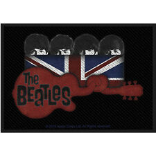 THE BEATLES - UNION JACK AND GUITAR ( BRAND NEW 10cm X 7cm SEW-ON PATCH )