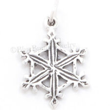 SNOWFLAKE Solid 925 Sterling Silver CHRISTMAS SNOW FLAKE Pendant Charm Jewelry