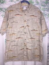 Columbia Sportswear Mens Fishing Shirt Medium Button Down Camp Lounge Fish Print