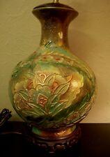 VTG Frederick Cooper ?Ceramic Globe Ornate Floral Table Lamp Chinoiserie Style