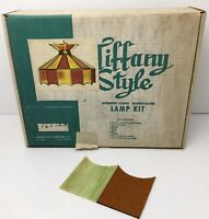 "Vintage MCM Tiffany Style DIY Lamp Kit Avocado Gold 16"" Leaded Stained Glass USA"