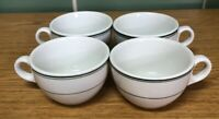 Vintage Sterling China Green Stripe Coffee/Tea Cups Restaurant Ware (Set of 4)