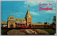 Postcard Anaheim CA c1960s Greetings From Disneyland Sante Fe Train Mickey A