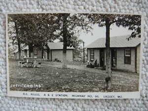 RPPC-LAQUEY MO-RIGGS CABINS-ROADSIDE-ROUTE 66-MISSOURI-PULASKI COUNTY-REAL PHOTO