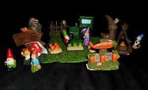 Lot 16 Miniature Fairy Garden Dollhouse Gnomes Gardening Tractor Accessories