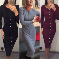 New Fashion Women Long Sleeve Button Front Knitted Sweater Dress Bodycon Pencil