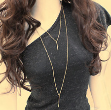 Women Bohemian Gold Plated Long Sweater Chain Vertical Bar Necklace Pendant