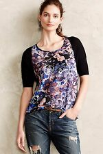 Anthropologie Last Act Woven Floral Print Blouse By Yellow Bird Sz S Black Motif