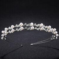 Bride Headband Tiara Bridal Crown Handmade Pearl Double Layer Wedding HeadpiecNR