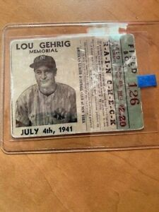 Lou Gehrig New York Yankees July 1941 Memorial Ticket