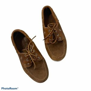 Quoddy Amazonas USA Men's Brown Suede Leather Lace Loafers Deck Shoes 7.5