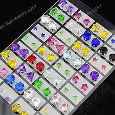 Wholesale Lots Mix 72pcs Silver Cubic Zircon Stainless steel Women Stud Earrings