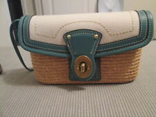 COACH $168 Natural Straw/Dk Turquoise Leather Trim Flap Wristlet NIP