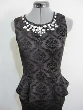 "Evening Cocktail Formal ""NWT"" DRESS Sz S 8 - 10 BLACK Peplum Jewels Bodycon Work"