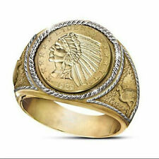 New Men's 18K Indian Head Coin Gold & Silver Two-Tone Ring Size 12 Free Shipping