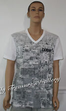 New Guess Mens V- neck Tee T-shirt Top White, Size XL, NWT