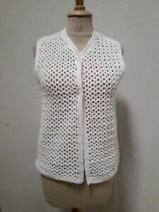 Gilet blanc boho au crochet T.36 VINTAGE 70 hand crocheted white cardigan sz XS