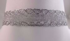 Silver ribbon necklace choker metal lobster clasp 14 to 16 inch adjustable