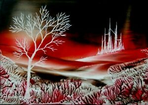 ORIGINAL ACEO encaustic art FANTASY landscape BEESWAX painting RED tree CASTLE