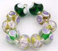HANDMADE LAMPWORK GLASS BEADS Lime Green Purple Flower Loose Jewelry Craft