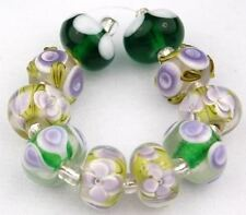 HANDMADE LAMPWORK GLASS BEADS Lime Green Purple Flower Loose Jewelry Craft