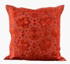 "16X16"" Inch Indian Handmade 100% Cotton Square Sofa Cushion Cover Mirror Work"