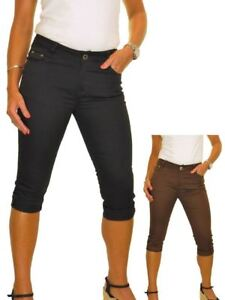 Ladies Low Rise Crop Capri Skinny Jeans Chino Sheen Stretchy Material Size 8-14