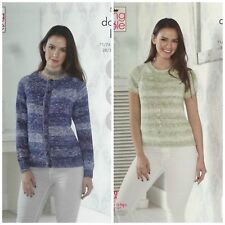 Knitting Pattern femmes Easy Knit Cardigan & Pull Vogue DK King Cole 5097