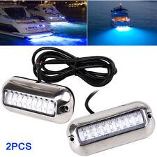 "2pcs 3.5"" 27LED Blue 50W Marine Under Water Boat Transom Trim Tab Lights Fishing"