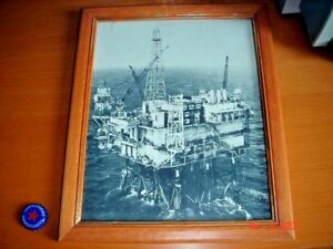 Large B/W Picture Card of Oil Rig, Glass & Wood Picture Frame