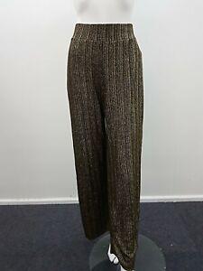 River island Gold glitter Stripe Wide Leg Pants Size 12 (12B )