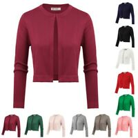 Women's Knitted Sweater Knitting Coat Cardigan Crew Neck Cropped Three-quarter