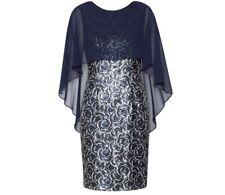 Gina Bacconi Sharona Sequin Dress With Chiffon Cape, Navy/Silver U.K. Size 14