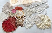 Vintage Lot Crocheted Doilies 23 Pieces White Ecru Colors Doily
