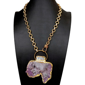 """Natural Big Quartz Raw Rough Druzy Blue Kyanite Pendant Chain Necklace 20"""""""