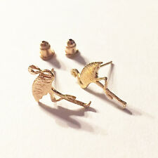 Kitsch Flamingo Brushed Gold SweetPea Studio Stud Earrings - Jewellery Earring