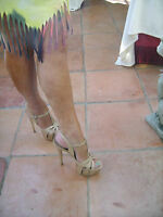 Gina Shoes size 5 T-bar Platform Sandals cream patent style 4699 6 inch heal