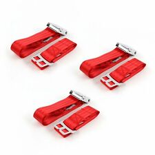 Chrysler New Yorker 1955-1956 Airplane 2pt Red Lap Bench Seat Belt Kit - 3 Belts(Fits: Whippet)