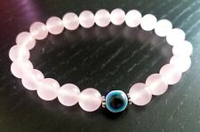 Rose Quartz Evil eye protection bracelet natural stone gemstone love gift