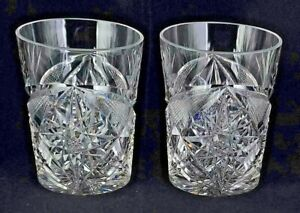 Pair Of ABP American Brilliant Period Signed Libbey Tumblers