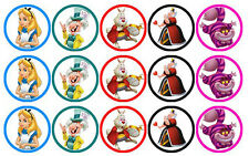 15 ALICE IN WONDERLAND EDIBLE WAFER CUPCAKE CUP CAKE DECORATION IMAGE TOPPERS