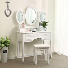 NEW 3 Folding Vintage White Vanity Makeup Dressing Table Set 7 Drawers & stool +