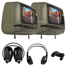 "Sonic Audio HR-7A-GREY 7"" Universal Leather-Style DVD Headrest Screens/Monitors"