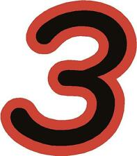 """x1 3"""" Race Number vinyl stickers (MORE in EBAY SHOP) Style 1 number 3 Black/Red"""