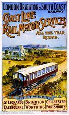 1890s London Brighton Vintage Great Britain Railway Travel Advertisement Poster