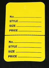 """100 YELLOW 2.75""""x1.75"""" Large Perforated Unstrung Price Consignment Store Tags"""