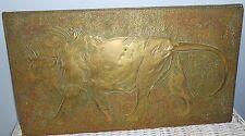 Antique Brass Rubbing On Wood Panel Lion Great Patina 16 x 9 Bas Relief Folk Art