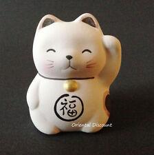 "Japanese 2.25"" Ceramic LOVE Wish-Making Maneki Neko Lucky Cat Pink Made In Japan"